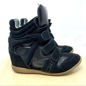 Steve Madden Hilite black wedge hightop sneakers 8